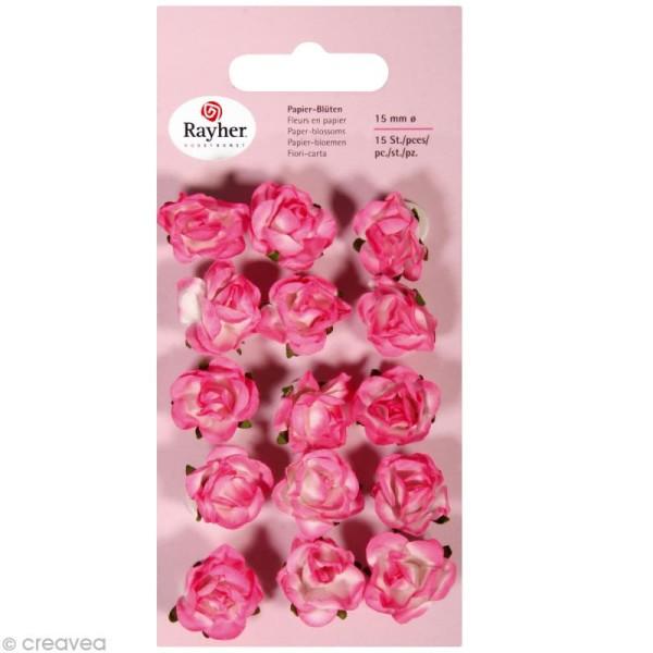 Rose en papier 15 mm - Rose oeillet x 15 - Photo n°1