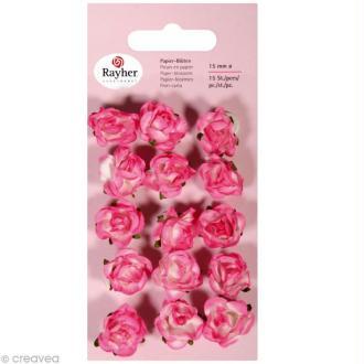 Rose en papier 15 mm - Rose oeillet x 15