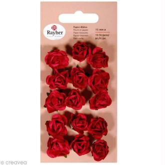 Rose en papier 15 mm - Rouge classique x 15