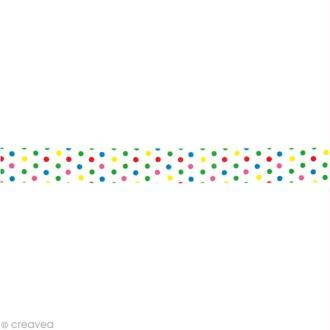 Washi Tape Petits pois multicolores 15 mm x 15 m