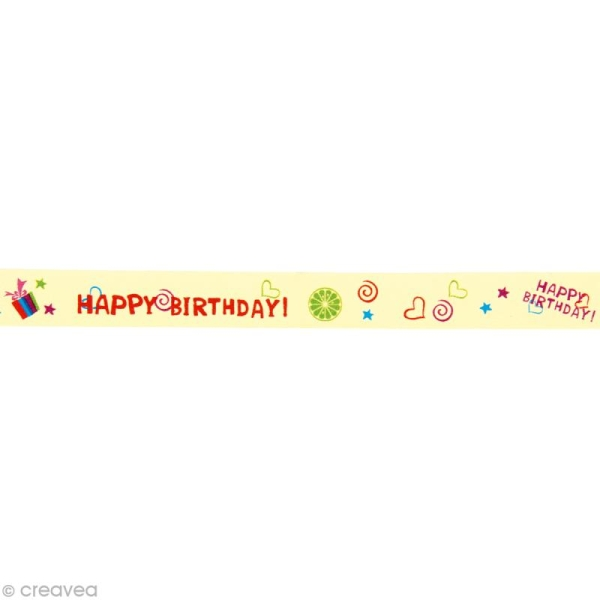 Washi Tape Ecritures Happy birthday ! 15 mm x 15 m - Photo n°1