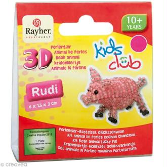 Kit animal 3D en perles - Rudi le cochon