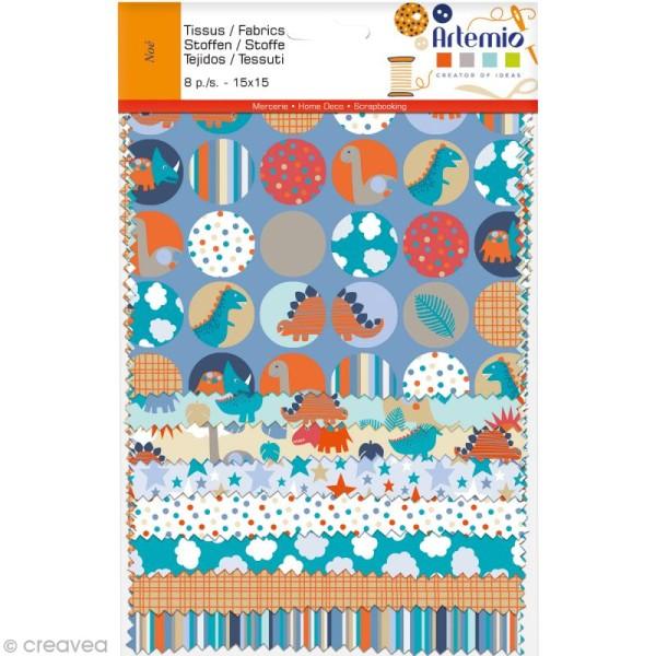 Coupon tissu Artemio Noé - Assortiment 15 x 15 cm x 8 - Photo n°1