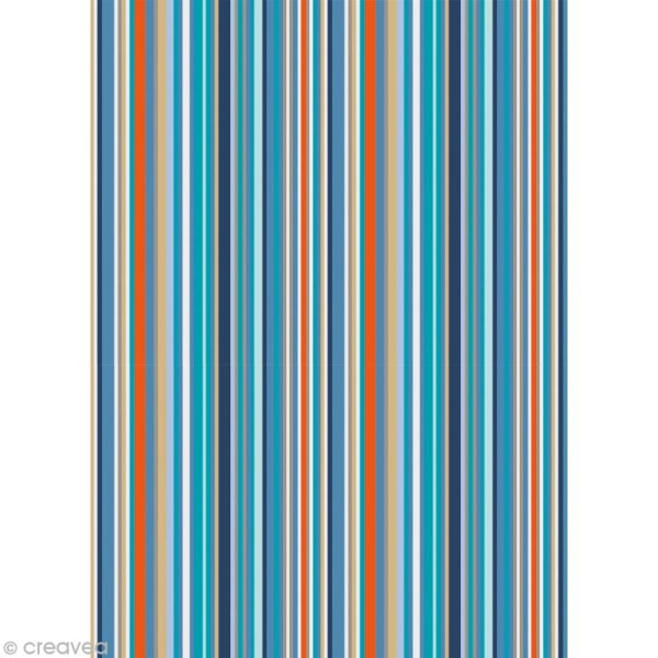 Coupon tissu Artemio Noé - Rayures 45 x 55 cm - Photo n°1
