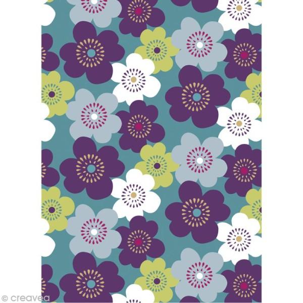 Coupon tissu Artemio Lucy - Grosses fleurs (fond gris) 45 x 55 cm - Photo n°1