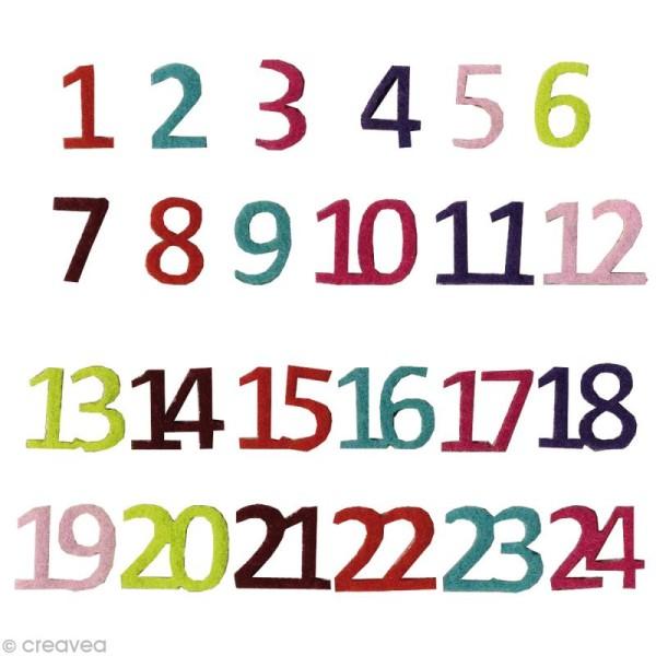 Chiffres de l'avent en feutrine Multicolores Noël contemporain - 24 pièces 0,7 cm - Photo n°1