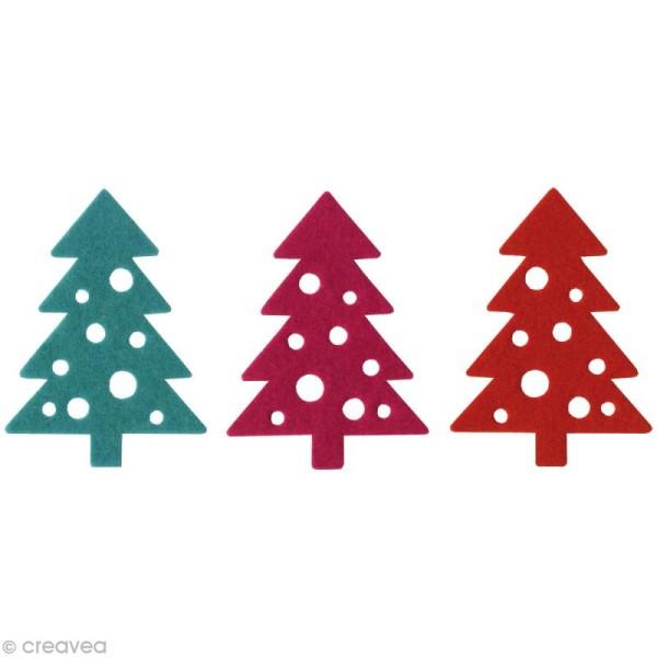 Sapins à trous en feutrine Noël contemporain - 3 pièces 7 cm - Photo n°1