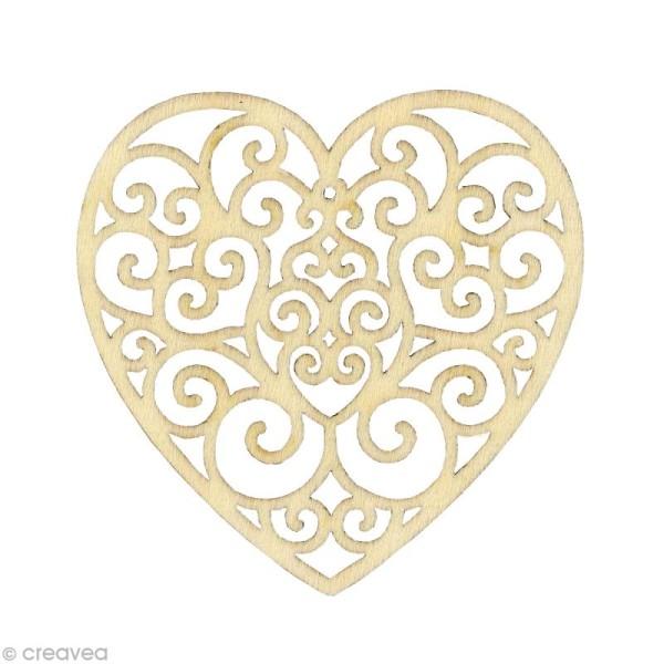 Forme en bois Amour - Coeur Volute - 3 pièces de 7,8 cm - Photo n°1