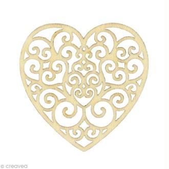Forme en bois Amour - Coeur Volute - 3 pièces de 7,8 cm