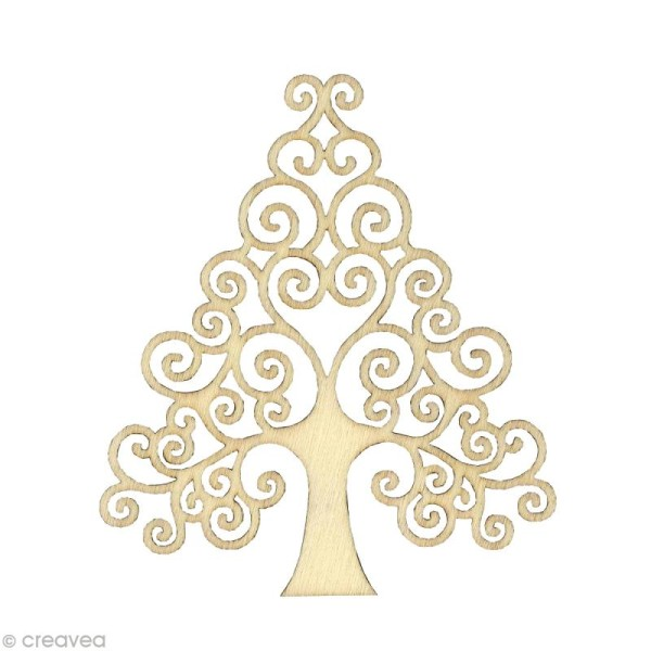 Forme en bois Noël - Sapin Volute - 3 pièces de 8,7 cm - Photo n°1
