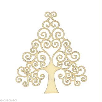 Forme en bois Noël - Sapin Volute - 3 pièces de 8,7 cm