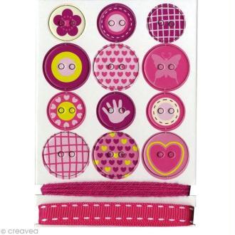 Boutons autocollants en carton Girl x 12