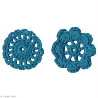 Fleurs au crochet - Turquoise - 6 formes en laine 4 cm