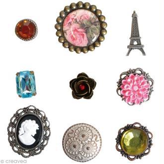 Attaches parisiennes Artemio - 9 brads Vintage Rose