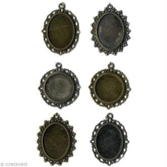 Pendentifs Vintage en métal - 6 pièces à décorer