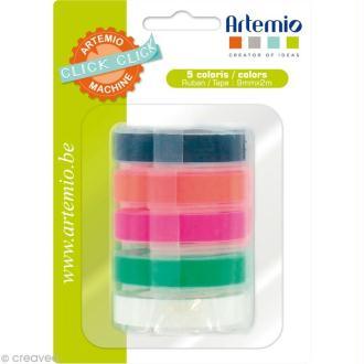 Recharge pour étiqueteuse Click Click Artemio - Ass. 5 rubans Fluo