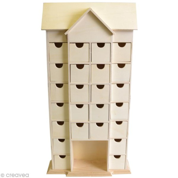 Calendrier de l'avent en bois à décorer - Maison géante - 50,5 cm - Photo n°1
