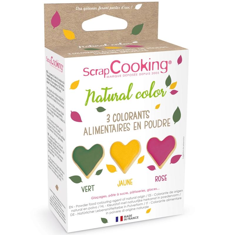 colorant alimentaire naturel 3 x 10 gr vert jaune rouge colorant alimentaire creavea. Black Bedroom Furniture Sets. Home Design Ideas