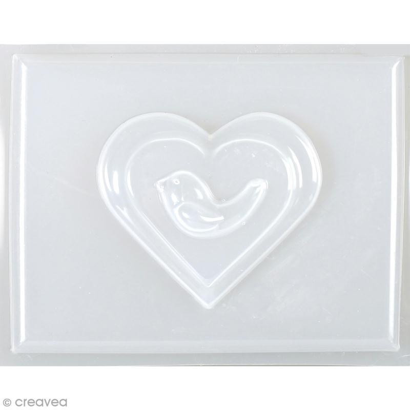 Mini moule thermoformé savon Coeur et oiseau - 6 x 5,5 cm - Photo n°1