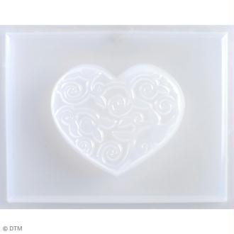 Mini moule thermoformé savon coeur arabesques - 6 x 5 cm