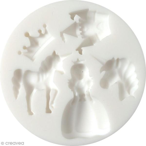 Mini moule en silicone - Licorne et princesse - 7 cm de diamètre - 5 formes - Photo n°1