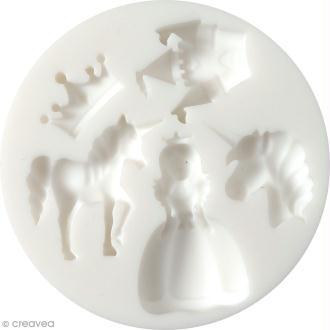 Mini moule en silicone - Licorne et princesse - 7 cm de diamètre - 5 formes