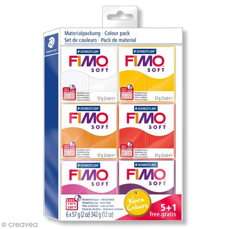 Assortiment Fimo Soft - Couleurs chaudes - 6 pains de 57 g - Fimo ...