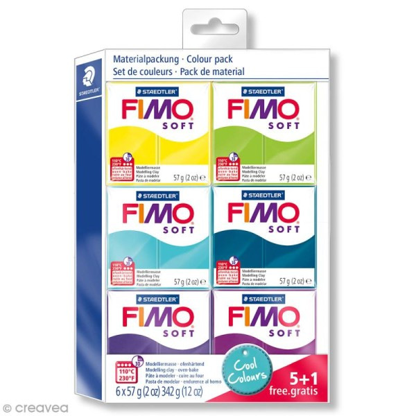 Assortiment Fimo Soft - Couleurs froides - 6 pains de 57 g - Photo n°1