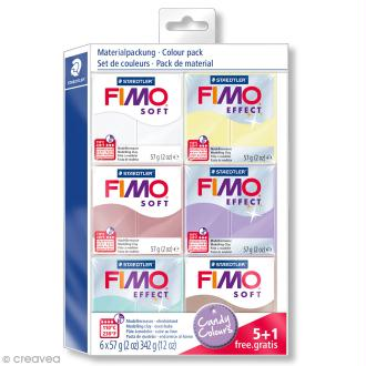 Assortiment Fimo Soft - Couleurs bonbon - 6 pains de 57 g