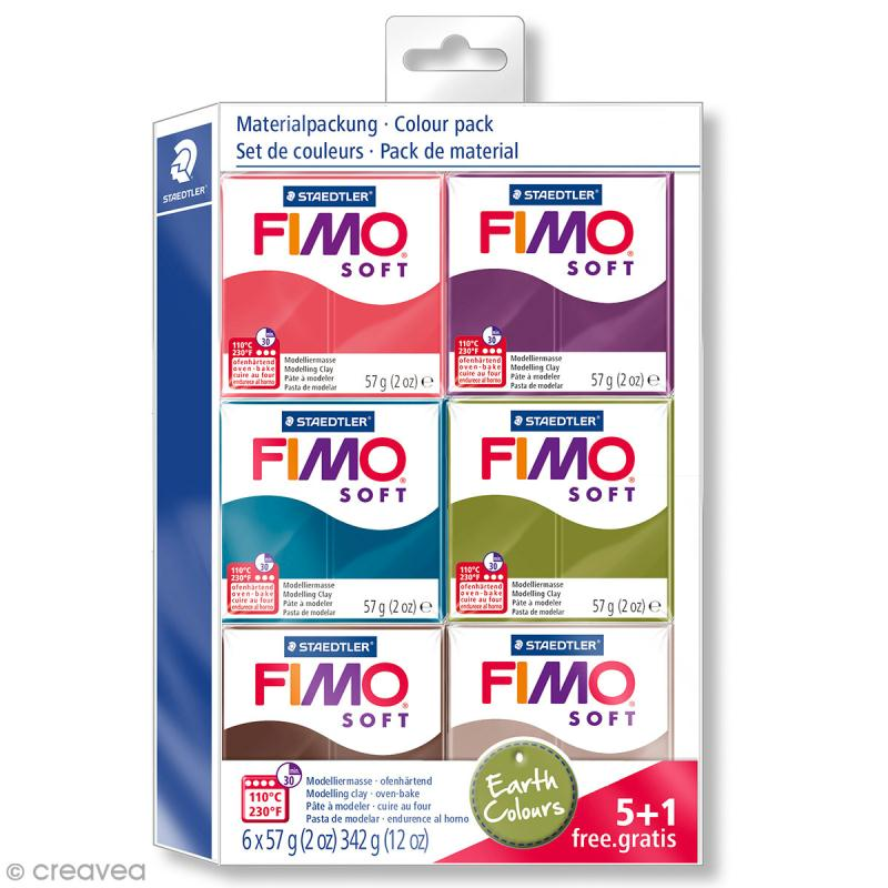 Assortiment Fimo soft et effect - Couleurs naturelles - 6 pains de 57 g - Photo n°1