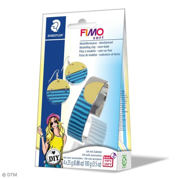 Coffret Fimo Soft - Bijoux cercle - 4 demi pains de 25 g et accessoires - Photo n°1
