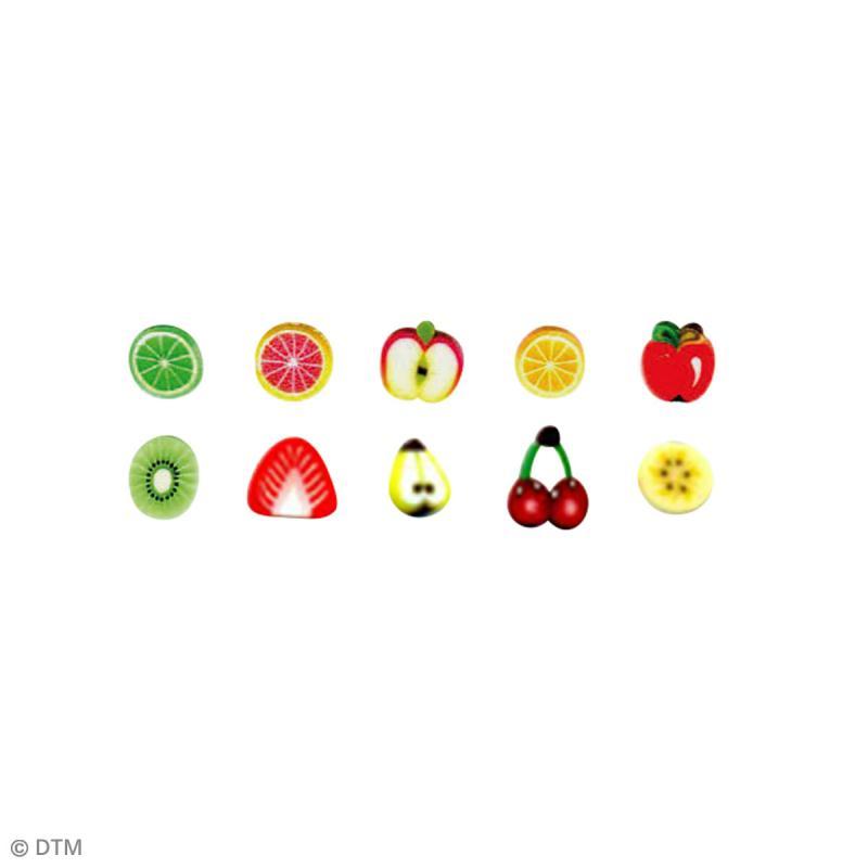 Assortiment de mini canes en pâte polymère - Fruits - 10 pcs - Photo n°2