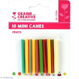 Assortiment de mini canes en pâte polymère - Fruits - 10 pcs