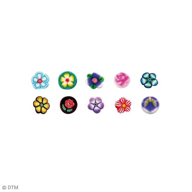 Assortiment de mini canes en pâte polymère - Fleurs - 10 pcs - Photo n°2