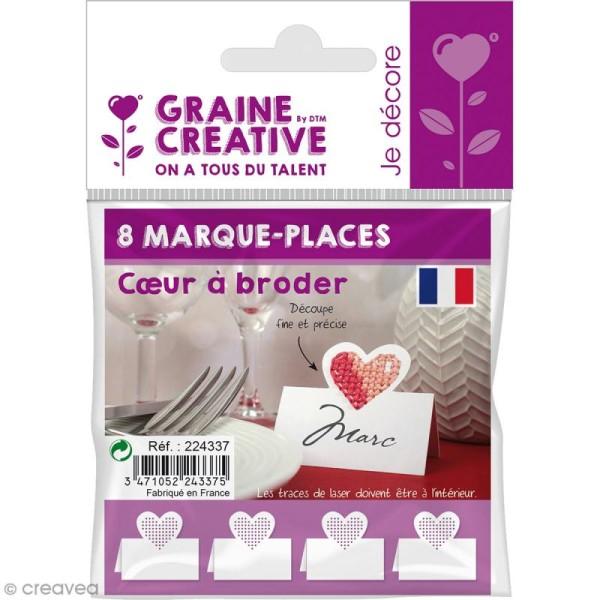 8 Marque-places - Coeur à broder - Photo n°1