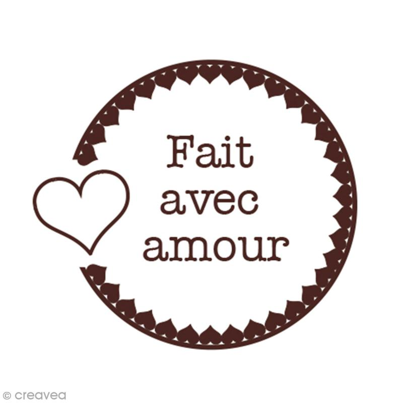 Tampon en bois Graine créative - Fait avec amour - 4,5 x 4,5 cm - Photo n°1