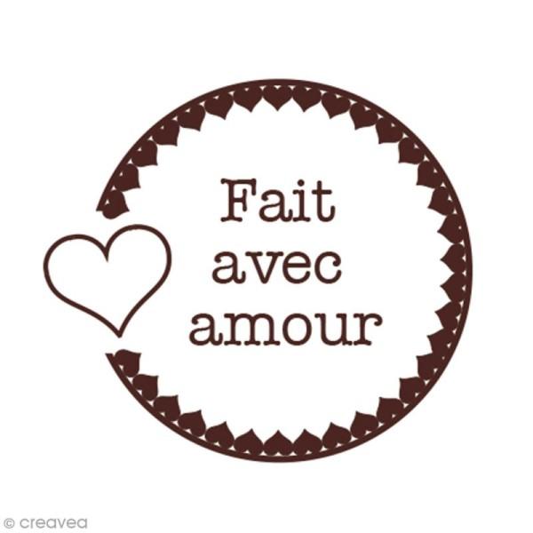Tampon en bois Graine créative - Fait avec amour - 4,5 x 4,5 cm - Photo n°2