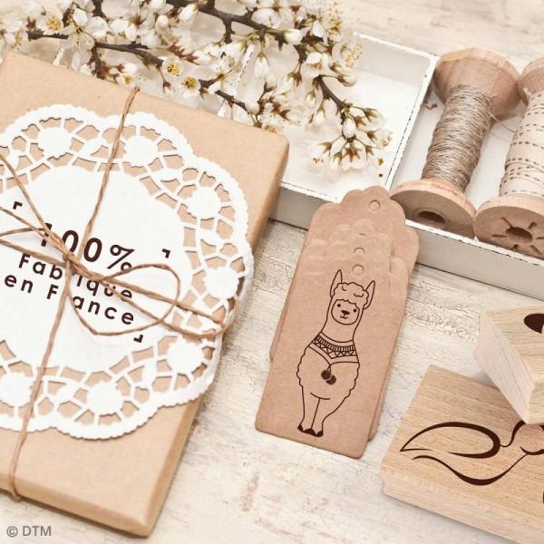 Tampon en bois Graine créative - Fait avec amour - 4,5 x 4,5 cm - Photo n°3