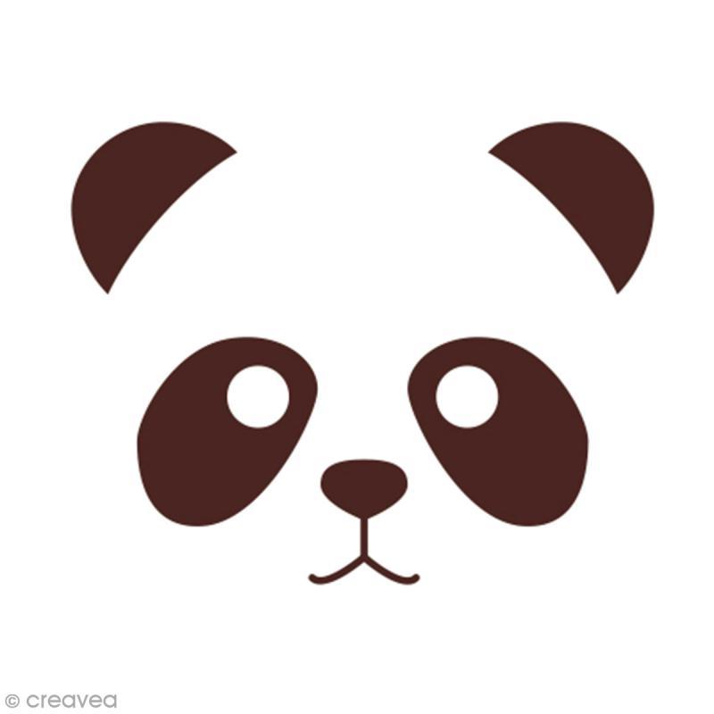 Tampon en bois Graine créative - Panda - 4,5 x 4,5 cm - Photo n°2