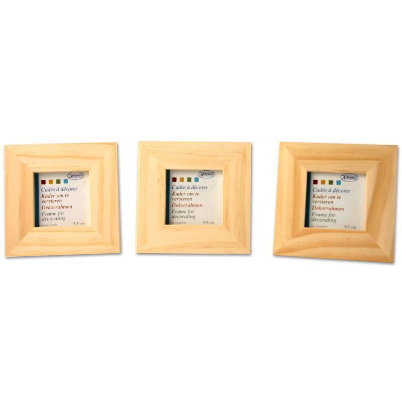 Lot de 3 cadres en bois - format photo 4 x 4 cm - Photo n°1