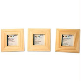 Lot de 3 cadres en bois - format photo 4 x 4 cm