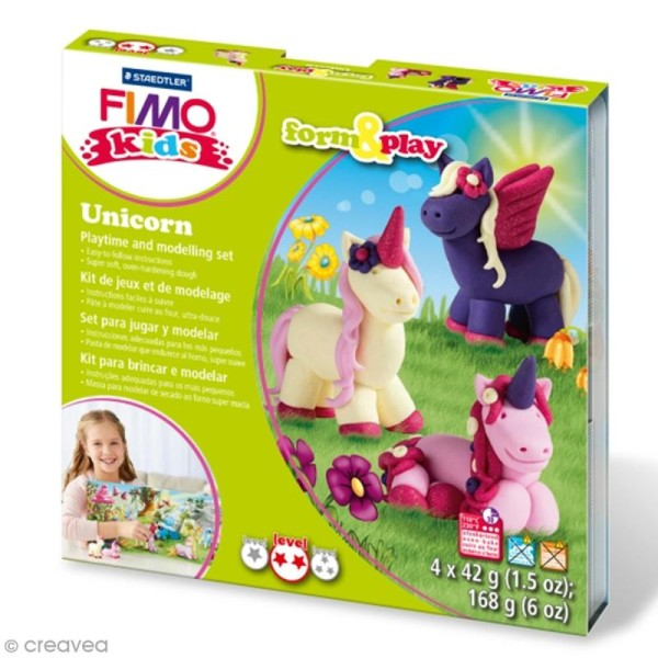 Kit Fimo Kids - Licorne - niveau moyen - Photo n°0