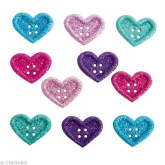 Bouton décoratif - Amour - Dentelle de coeurs x 10