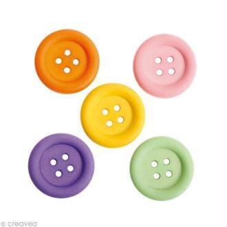 Bouton décoratif rond - Boutons tous ronds - 3,4 cm x 5