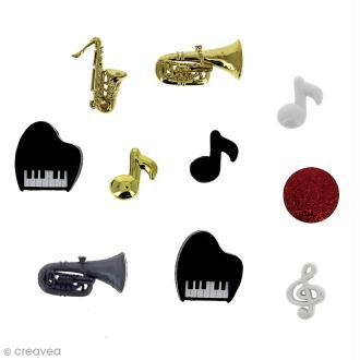 Bouton décoratif à coller - Divers - Musique x 10