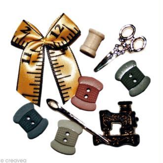 Bouton décoratif - Divers - De fil en aiguille x 9