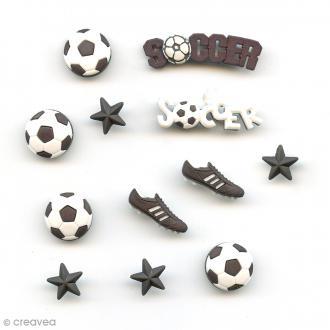 Bouton décoratif - Sport - Partie de foot x 12