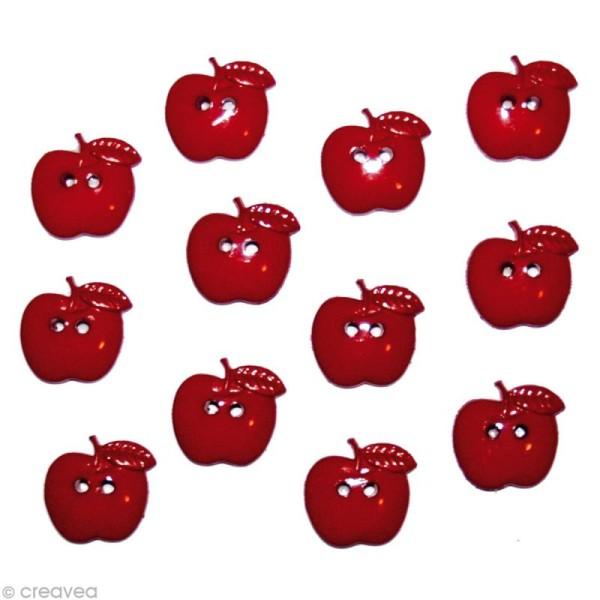 Bouton décoratif - Bouton - Pommes rouges x 12 - Photo n°1