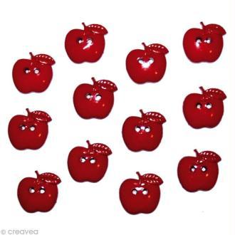 Bouton décoratif - Bouton - Pommes rouges x 12