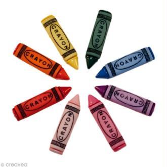 Bouton décoratif - Enfant - Crayons de couleur x 8